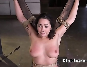 Natural hairy pussy slave rough drilled