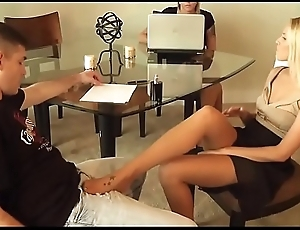 Nylon Footjob - Blonde Terra firma Representative Gives Footjob to say no to client secretly anent front of his wife - watch more on SweetNylonFeet.com