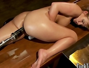 Busty pamper stuffed by massive dildo