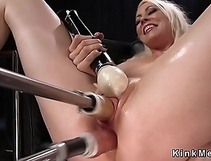 Blonde Milf bonks double penetration machine