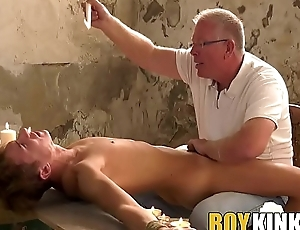 Mature maledom edging his roped hither submissive