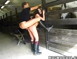 Olga Martinez and Rocco Siffredi have a go anal fun with regard to someone's skin stable and on some hay