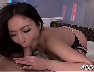Wild japanese chick delights her make away and anal with sex toys