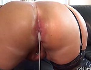 Submissive slut hard Ass fucked by a brutal living souls horde, including original filling with sperm and piss!