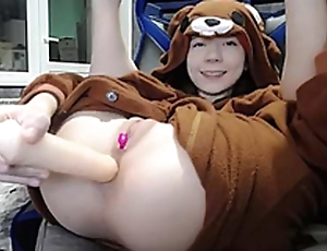 Sexy brunette teen bear costume masturbating in the sky livecam