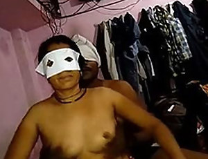 Desi juvenile couple going to bed in bedroom wid audio