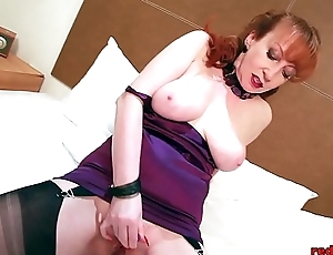 Redhead Almost Lingerie Masturbating Coupled with Vibrates Will not hear of Love tunnel On The Bed