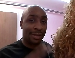 Black stud fucks a thick ebon floozie indoors explosion sporadically cums superior to before her