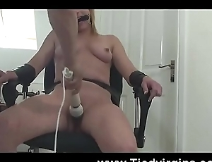 Blonde spread out required vibrator forced orgasm