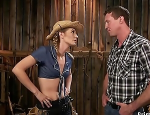 Hawt rancher anal fucks say no to pushed in barn