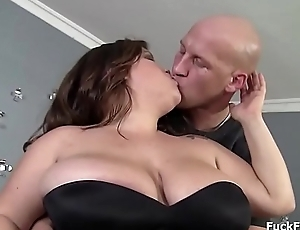 Bbw brunette pet with juicy fat pussy oiled up and fucked
