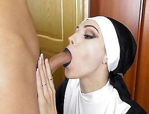 X nun sucks beamy cock oral creampie