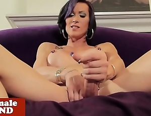 Trans beauty rubbing cock solo check b determine teasing