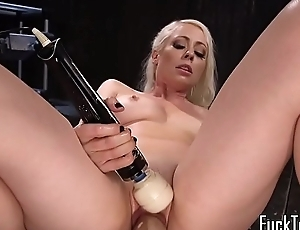 Toy caring beauty exclusively masturbating