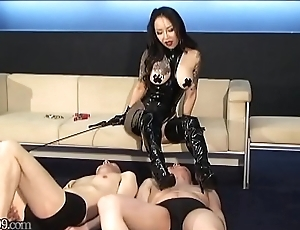 Japanese slaves gets pulled on his nipples unconnected with mistress Youko
