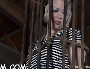 Gagged added to tied up slave is being pleasured with dildo