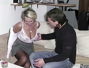 German Step-Son Get First Fuck by Mother and Cum Look-alike