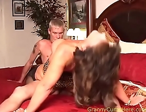 Teen Baby Sitter watches GRANNY fuck