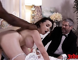 Busty mistress Dana DeArmond rides horseshit while hubby watches